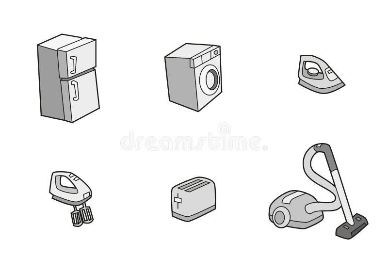 Εικονίδια οικιακών συσκευών του ψυγείου, φρυγανιέρα, πλυντήριο, κενό, αναμίκτης, σίδηρος ελεύθερη απεικόνιση δικαιώματος