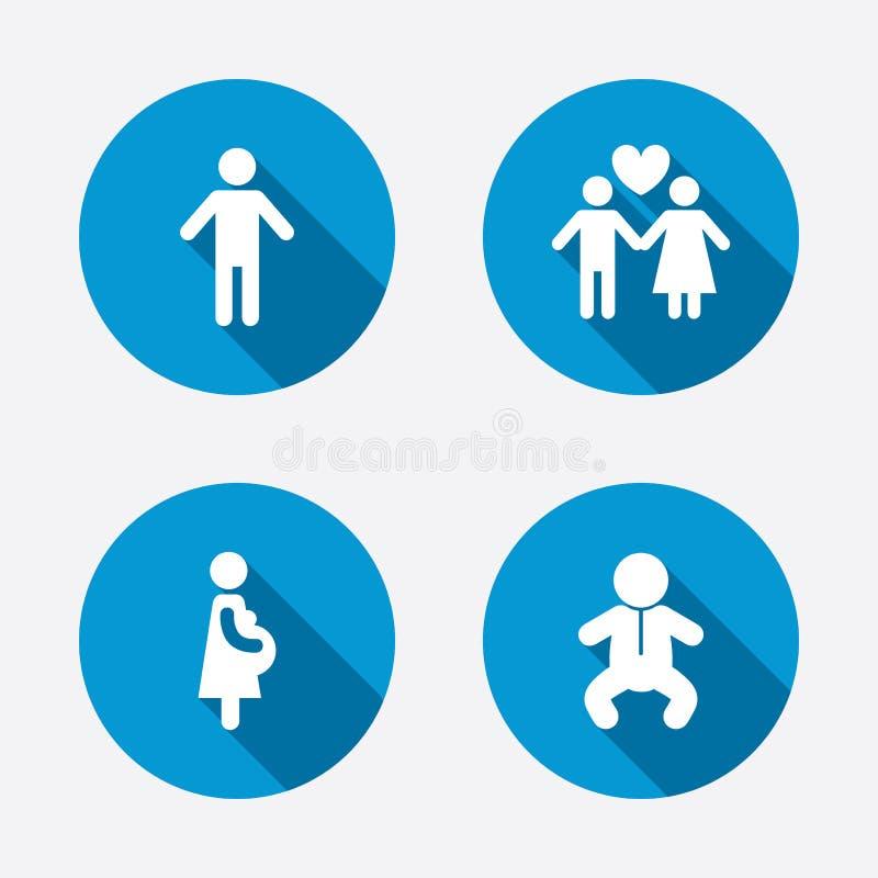 Εικονίδια οικογενειακής διάρκειας ζωής Αγάπη και εγκυμοσύνη ζεύγους ελεύθερη απεικόνιση δικαιώματος