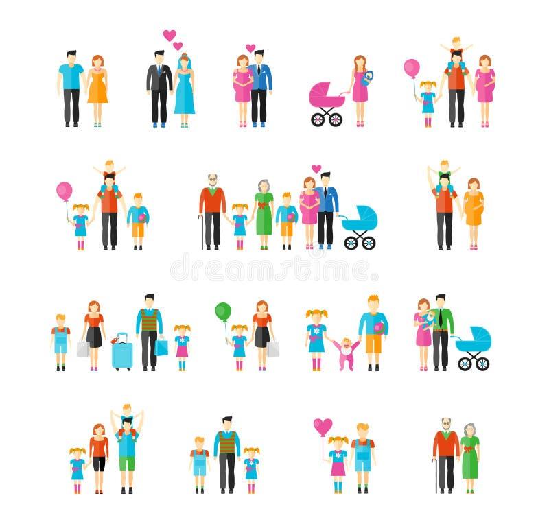 Εικονίδια οικογενειακού επίπεδα ύφους διανυσματική απεικόνιση