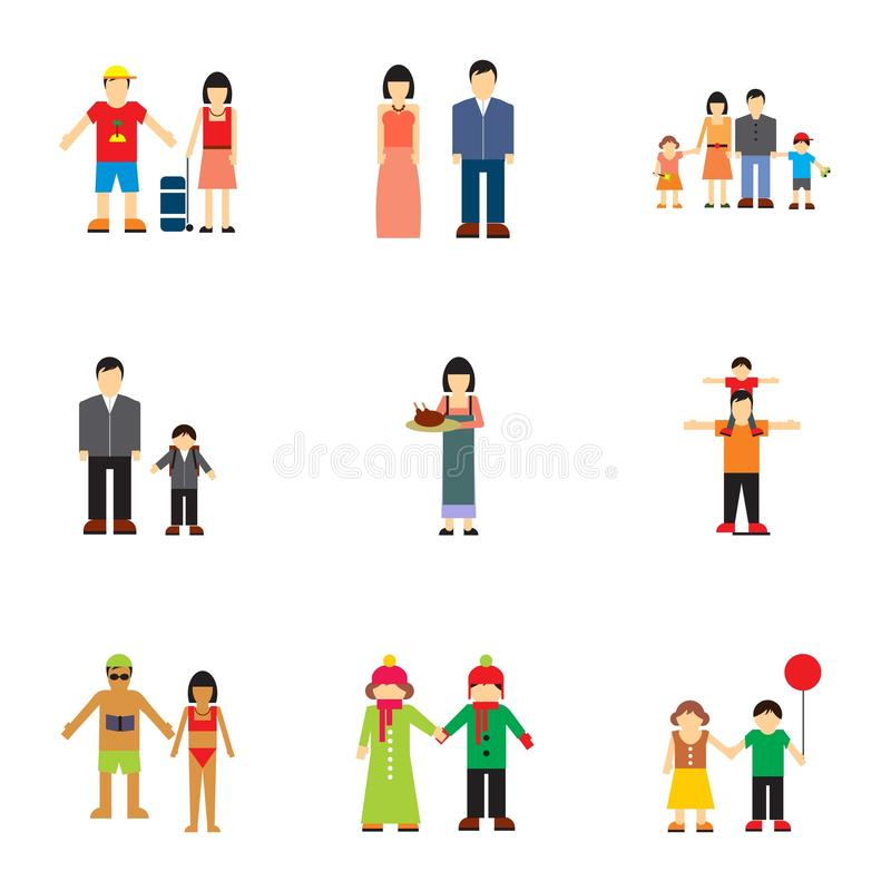 Εικονίδια οικογενειακών σχέσεων καθορισμένα, επίπεδο ύφος απεικόνιση αποθεμάτων
