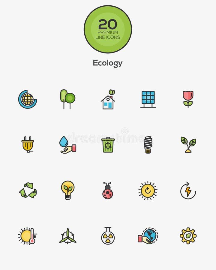 Εικονίδια οικολογίας ελεύθερη απεικόνιση δικαιώματος