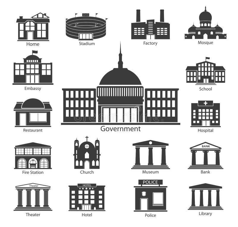 Εικονίδια οικοδόμησης καθορισμένα, κυβερνητικά κτήρια απεικόνιση αποθεμάτων