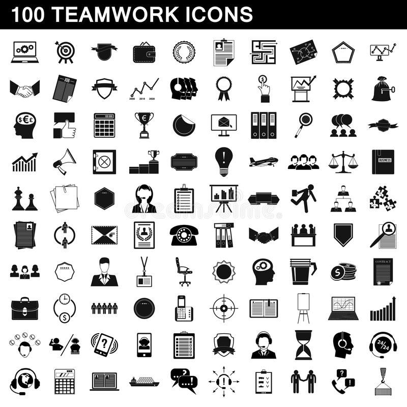 100 εικονίδια ομαδικής εργασίας καθορισμένα, απλό ύφος απεικόνιση αποθεμάτων