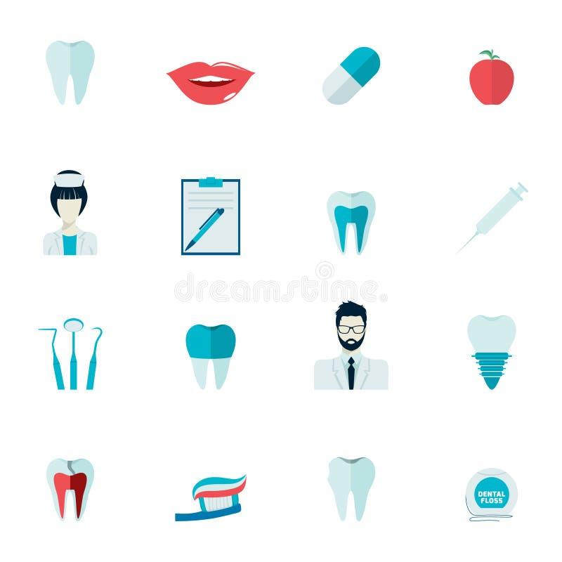 Εικονίδια δοντιών επίπεδα ελεύθερη απεικόνιση δικαιώματος