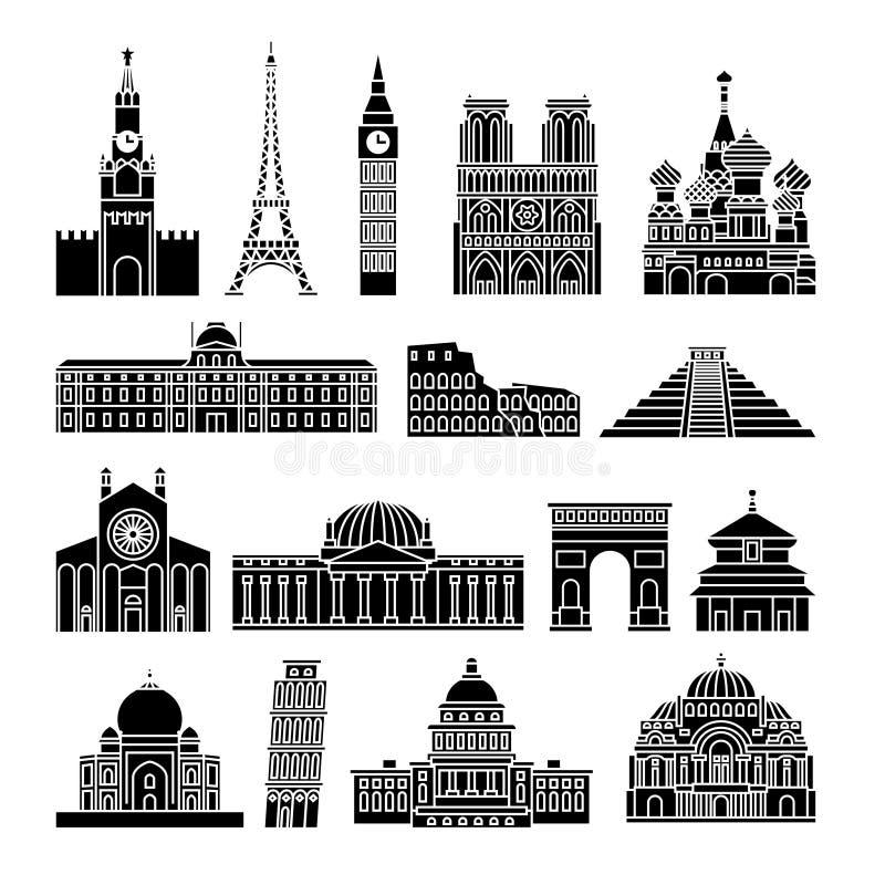 Εικονίδια ορόσημων ταξιδιού ελεύθερη απεικόνιση δικαιώματος