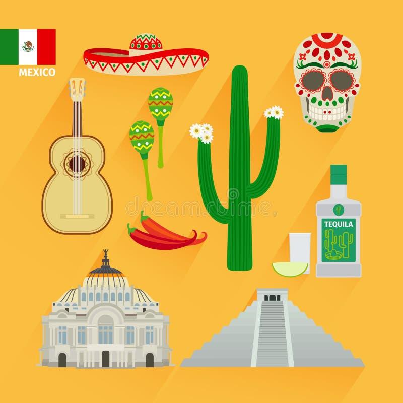 Εικονίδια ορόσημων του Μεξικού διανυσματική απεικόνιση
