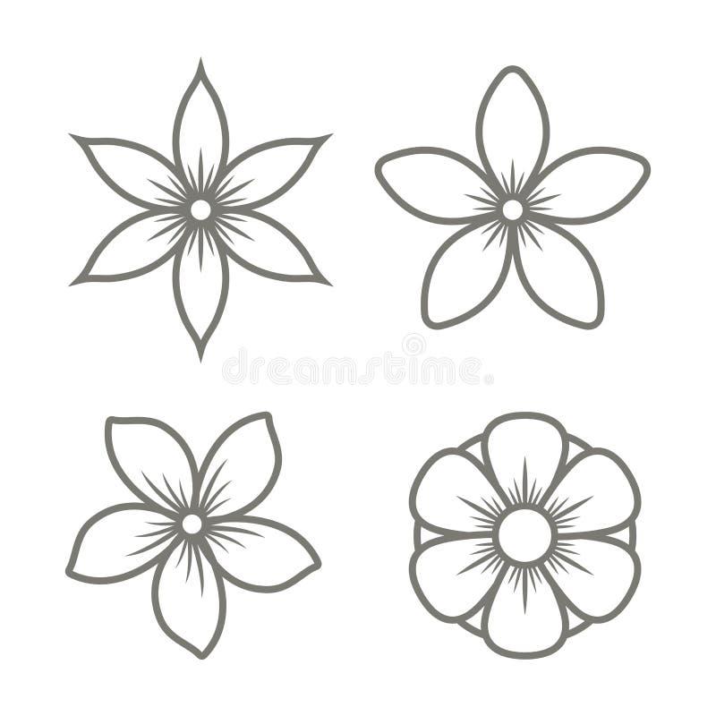 Εικονίδια λουλουδιών της Jasmine που τίθενται στο άσπρο υπόβαθρο διάνυσμα απεικόνιση αποθεμάτων
