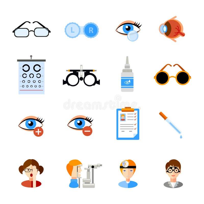 Εικονίδια οφθαλμολογίας καθορισμένα ελεύθερη απεικόνιση δικαιώματος