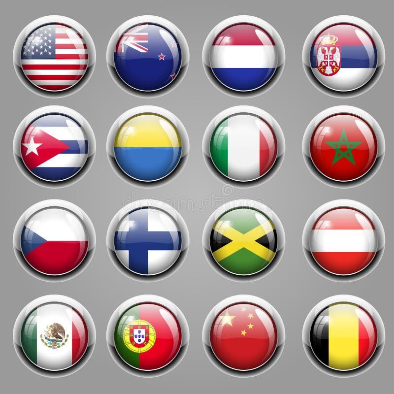 Εικονίδια παγκόσμιων σημαιών απεικόνιση αποθεμάτων