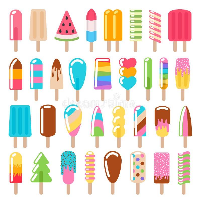 Εικονίδια παγωτού Popsicle καθορισμένα διανυσματική απεικόνιση