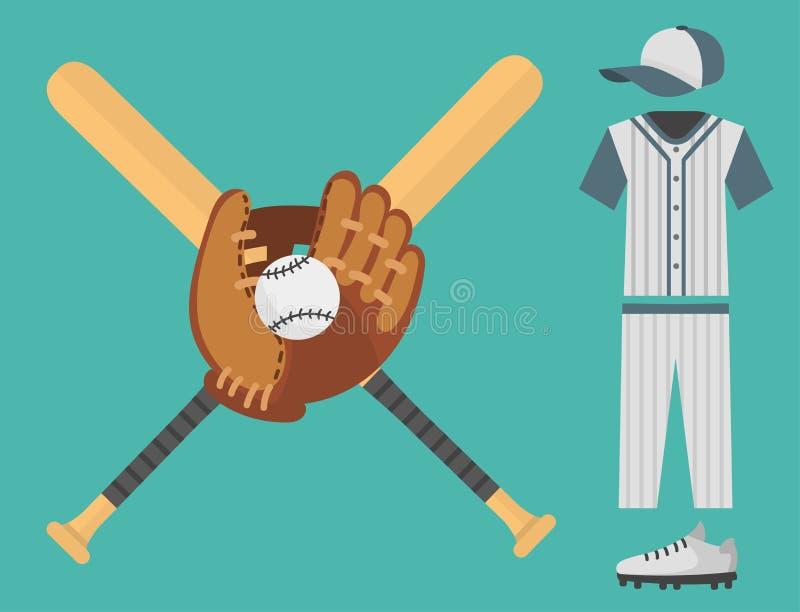 Εικονίδια παιχτών του μπέιζμπολ κινούμενων σχεδίων που κτυπούν το διανυσματικό εξοπλισμό αθλητικής ένωσης αθλητών παιχνιδιών σχεδ ελεύθερη απεικόνιση δικαιώματος