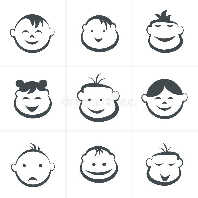 Εικονίδια παιδιών καθορισμένα, αγόρια και κορίτσια, σύμβολα παιδιών ελεύθερη απεικόνιση δικαιώματος