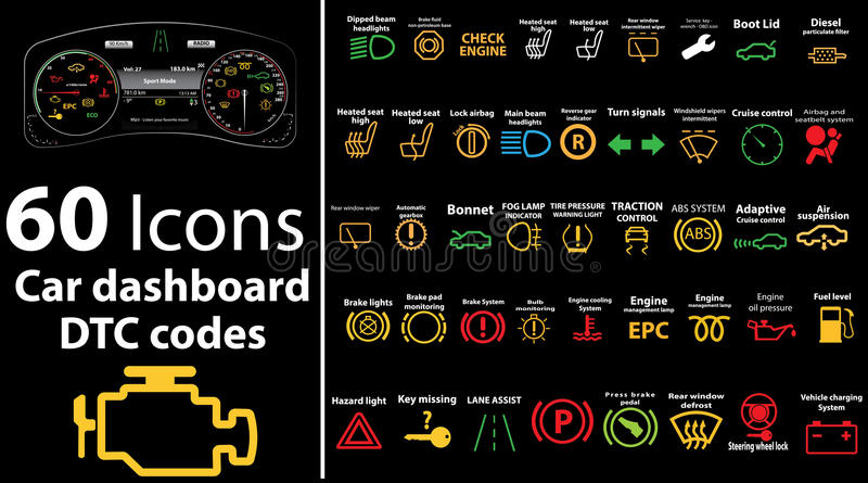 εικονίδια 60 πακέτων - το ταμπλό αυτοκινήτων, dtc κώδικες, μήνυμα λάθους, μηχανή ελέγχου, ελάττωμα, διανυσματική απεικόνιση ταμπλ ελεύθερη απεικόνιση δικαιώματος