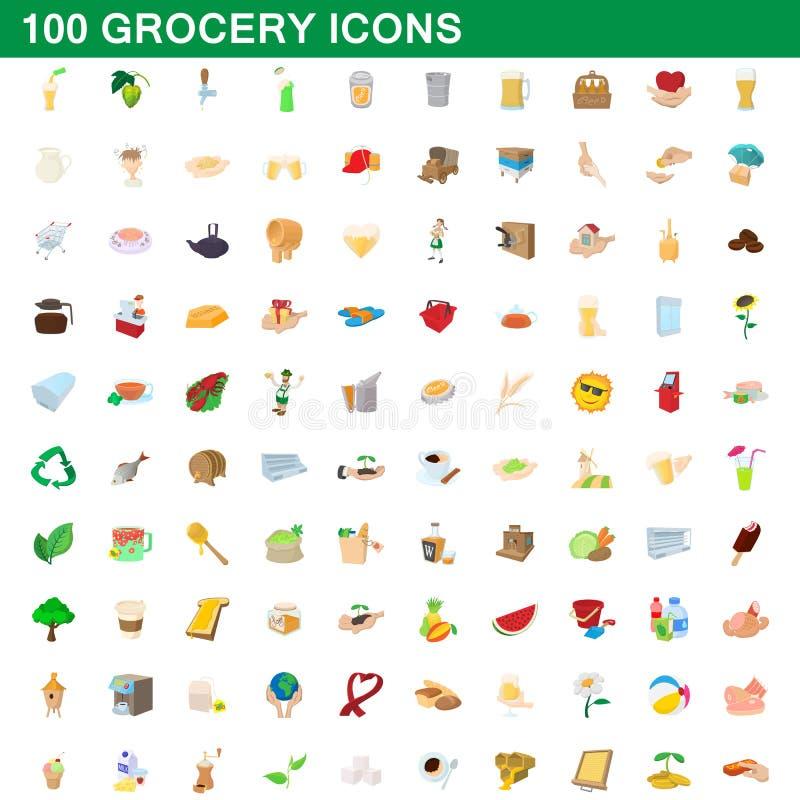 100 εικονίδια παντοπωλείων καθορισμένα, ύφος κινούμενων σχεδίων ελεύθερη απεικόνιση δικαιώματος