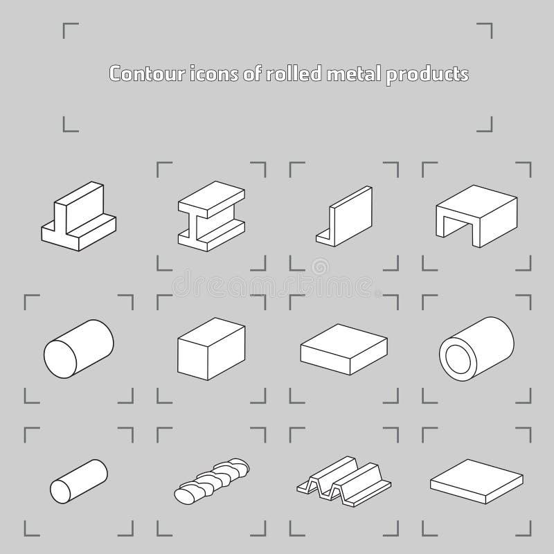 Εικονίδια περιγράμματος των κυλημένων προϊόντων μετάλλων ελεύθερη απεικόνιση δικαιώματος