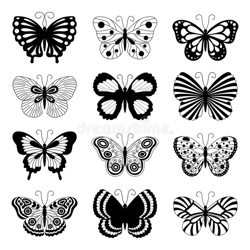 Εικονίδια πεταλούδων ελεύθερη απεικόνιση δικαιώματος