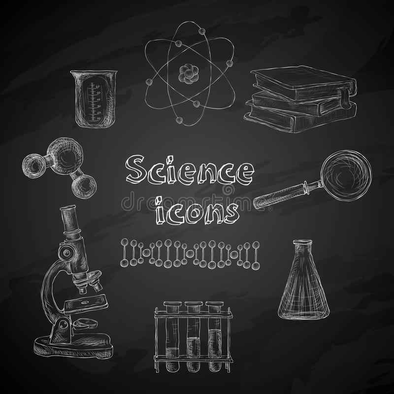 Εικονίδια πινάκων κιμωλίας επιστήμης ελεύθερη απεικόνιση δικαιώματος