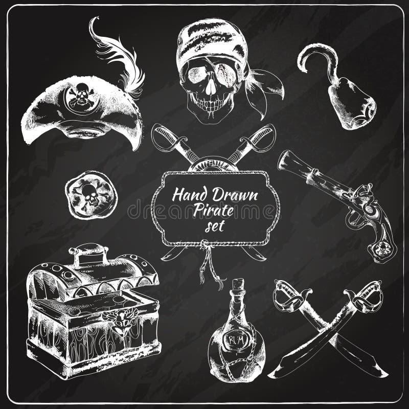 Εικονίδια πινάκων κιμωλίας πειρατών καθορισμένα απεικόνιση αποθεμάτων