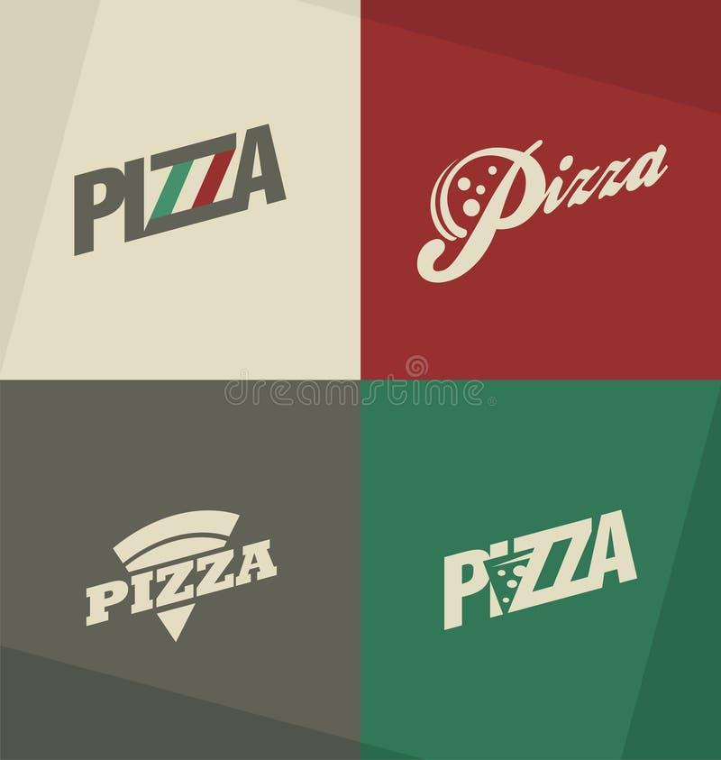 Εικονίδια πιτσών, ετικέτες, λογότυπα, σύμβολα και στοιχεία σχεδίου απεικόνιση αποθεμάτων