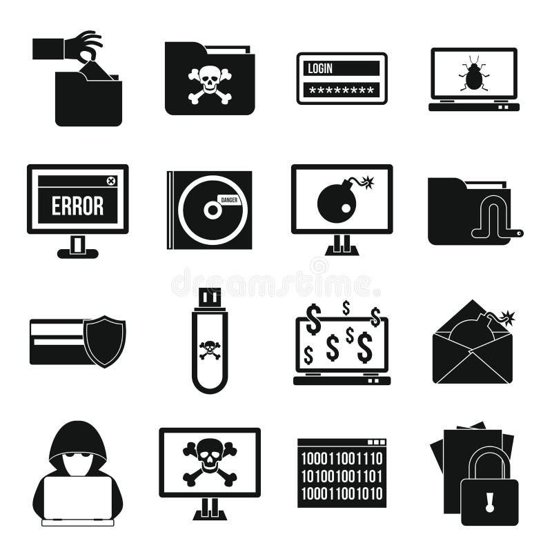 Εικονίδια ποινικής δραστηριότητας καθορισμένα, απλό ύφος ελεύθερη απεικόνιση δικαιώματος