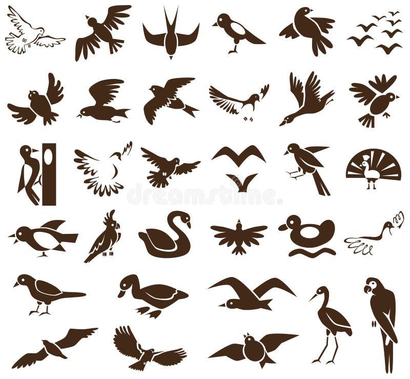 Εικονίδια πουλιών στο λευκό διανυσματική απεικόνιση