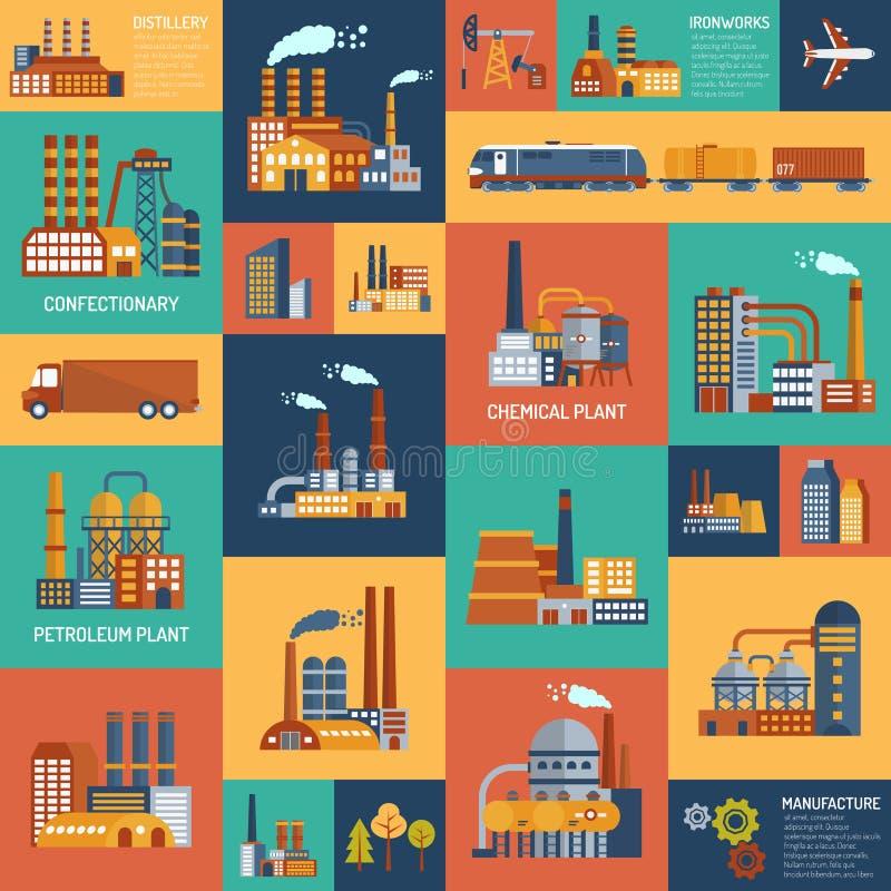 Εικονίδια που τίθενται με τους διαφορετικούς τύπους βιομηχανικών