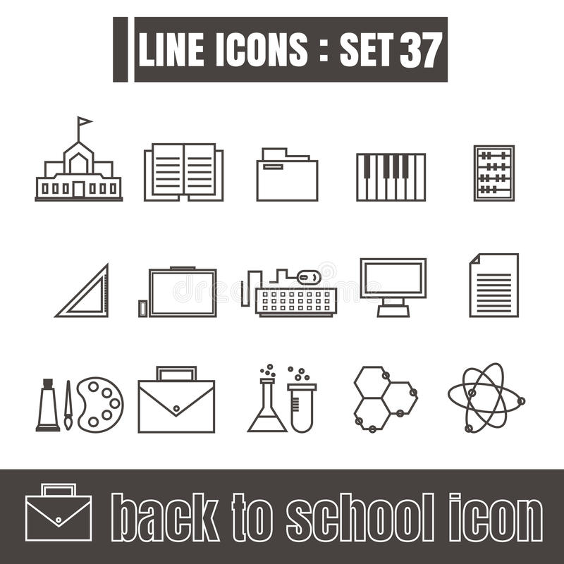 Εικονίδια που τίθενται πίσω στα μαύρα σύγχρονα στοιχεία σχεδίου ύφους σχολικών γραμμών απεικόνιση αποθεμάτων