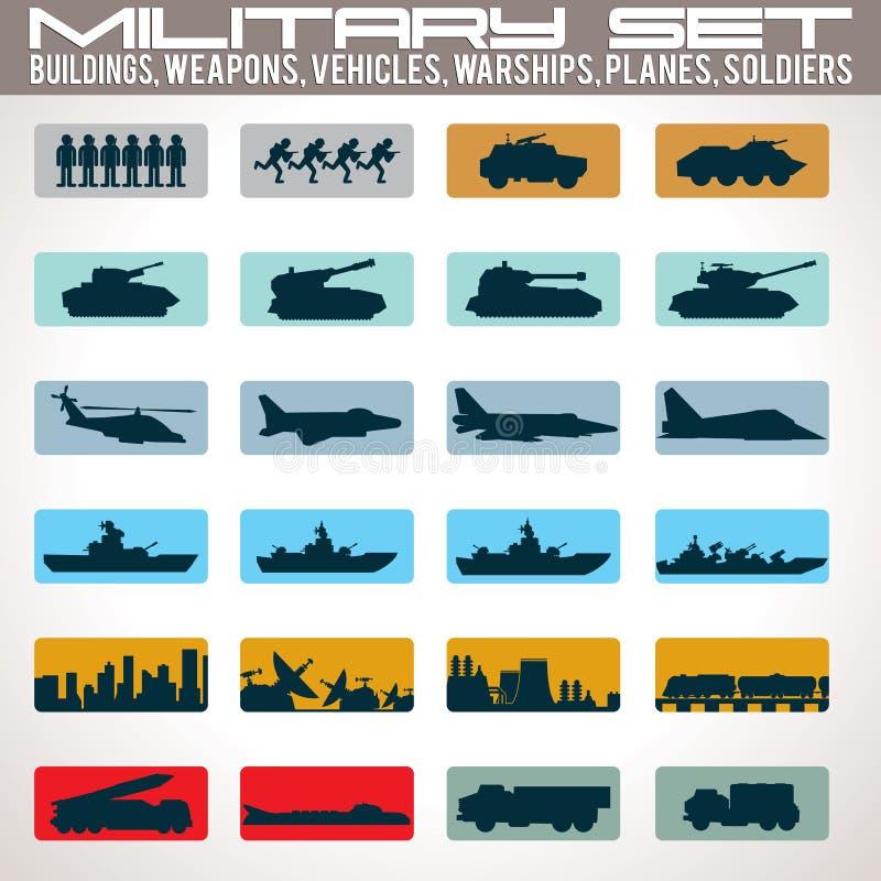 Εικονίδια που τίθενται στρατιωτικά απεικόνιση αποθεμάτων
