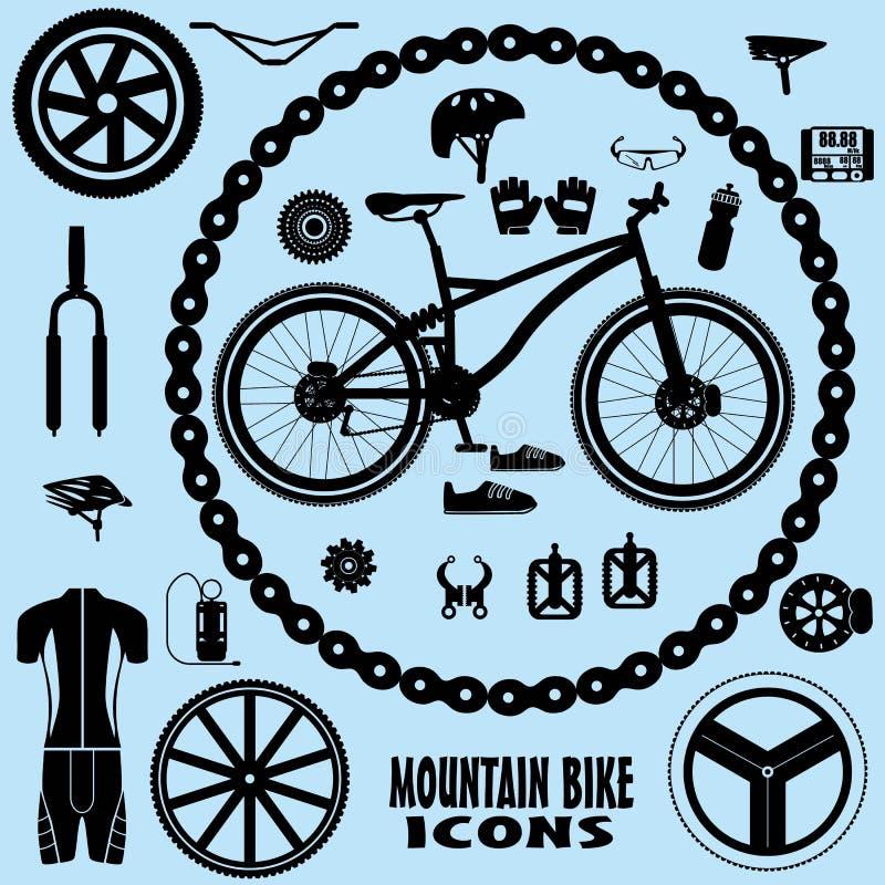 Εικονίδια ποδηλάτων βουνών απεικόνιση αποθεμάτων