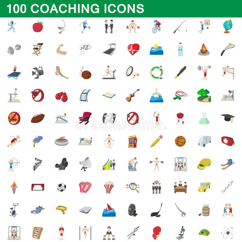 100 εικονίδια προγύμνασης καθορισμένα, ύφος κινούμενων σχεδίων απεικόνιση αποθεμάτων