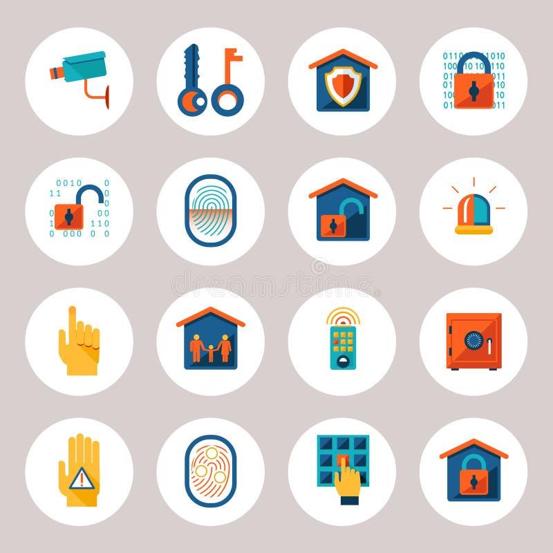 Εικονίδια προστασίας ακίνητων περιουσιών ελεύθερη απεικόνιση δικαιώματος