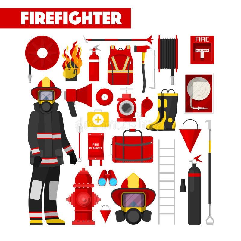 Εικονίδια πυροσβεστών επαγγέλματος που τίθενται με τον εξοπλισμό πυροσβεστών ελεύθερη απεικόνιση δικαιώματος