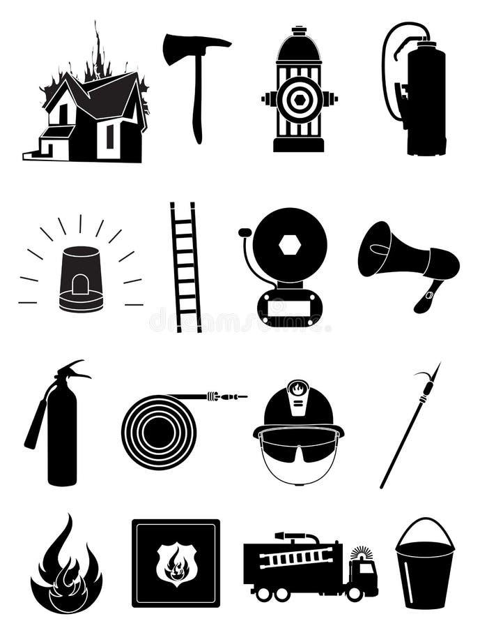 Εικονίδια πυροσβεστών καθορισμένα διανυσματική απεικόνιση