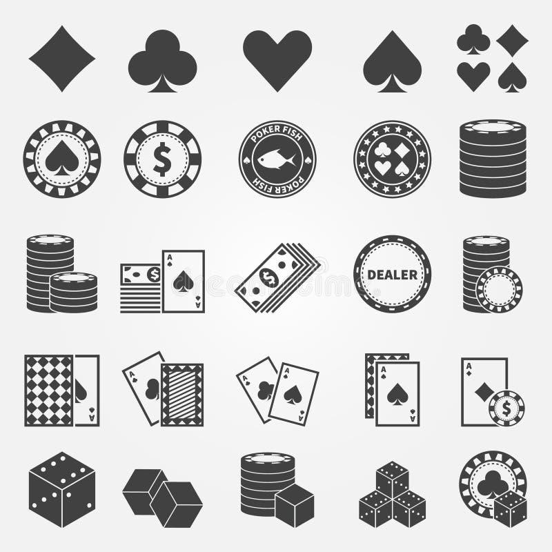 Εικονίδια πόκερ καθορισμένα διανυσματική απεικόνιση