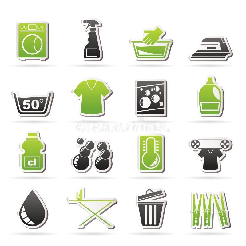 Εικονίδια πλυντηρίων και πλυντηρίων διανυσματική απεικόνιση