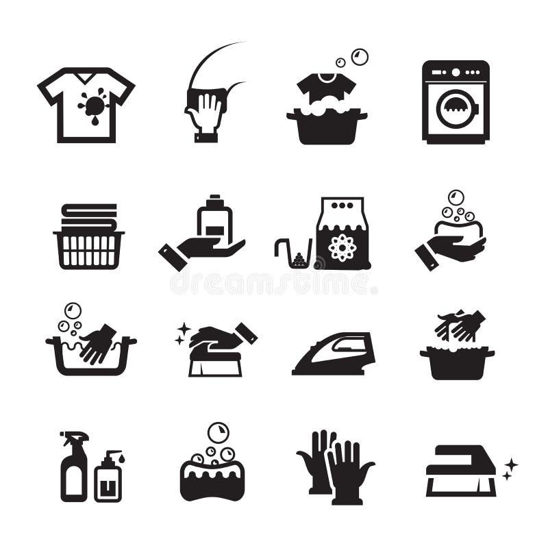 Εικονίδια πλύσης πλυντηρίων καθορισμένα απεικόνιση αποθεμάτων