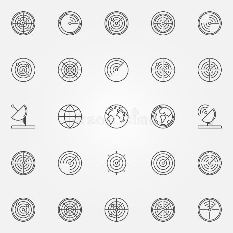 Εικονίδια ραντάρ καθορισμένα διανυσματική απεικόνιση