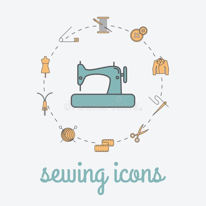 Εικονίδια ραψίματος και ραπτικής Ράβοντας αφίσα στούντιο απεικόνιση αποθεμάτων