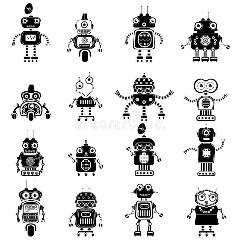 Εικονίδια ρομπότ, μονο διανυσματικά σύμβολα διανυσματική απεικόνιση