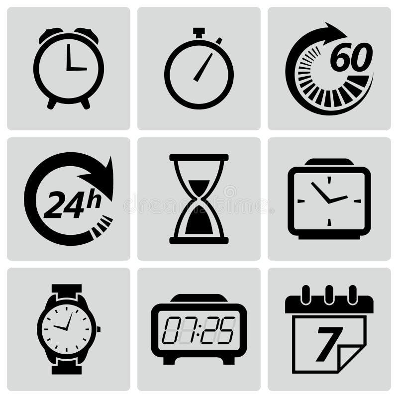 Εικονίδια ρολογιών και χρόνου. Διανυσματική απεικόνιση διανυσματική απεικόνιση