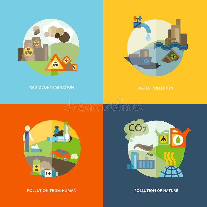 Εικονίδια ρύπανσης επίπεδα διανυσματική απεικόνιση