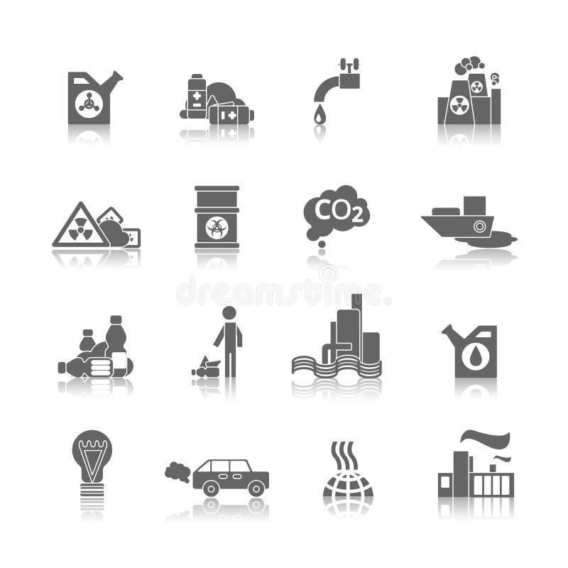 Εικονίδια ρύπανσης που τίθενται απεικόνιση αποθεμάτων