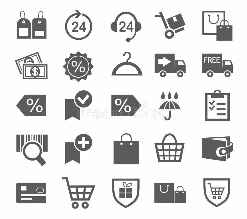 Εικονίδια, σε απευθείας σύνδεση κατάστημα, αγορές, μονοχρωματικές, πληρωμή, παράδοση, εκπτώσεις διανυσματική απεικόνιση