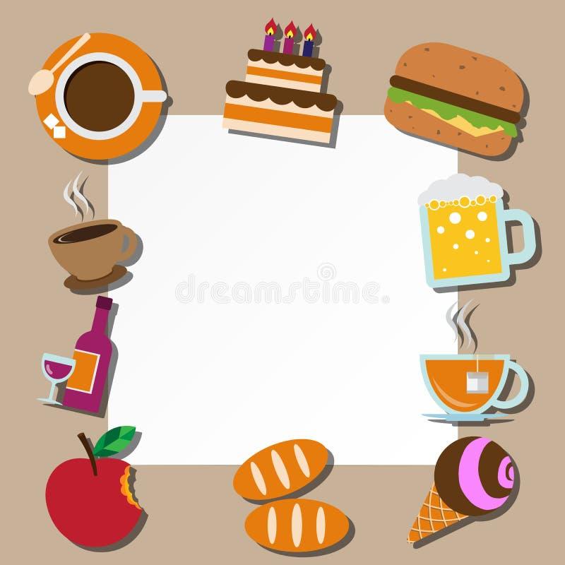 Εικονίδια σημειώσεων και τροφίμων εγγράφου καθορισμένα διανυσματική απεικόνιση