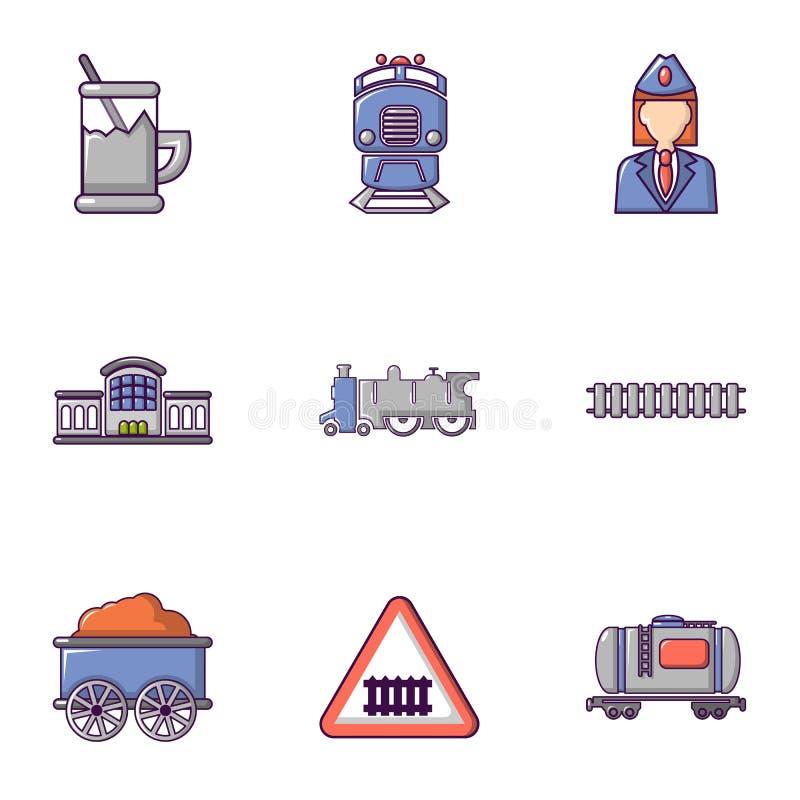Εικονίδια σιδηροδρόμου καθορισμένα, επίπεδο ύφος διανυσματική απεικόνιση