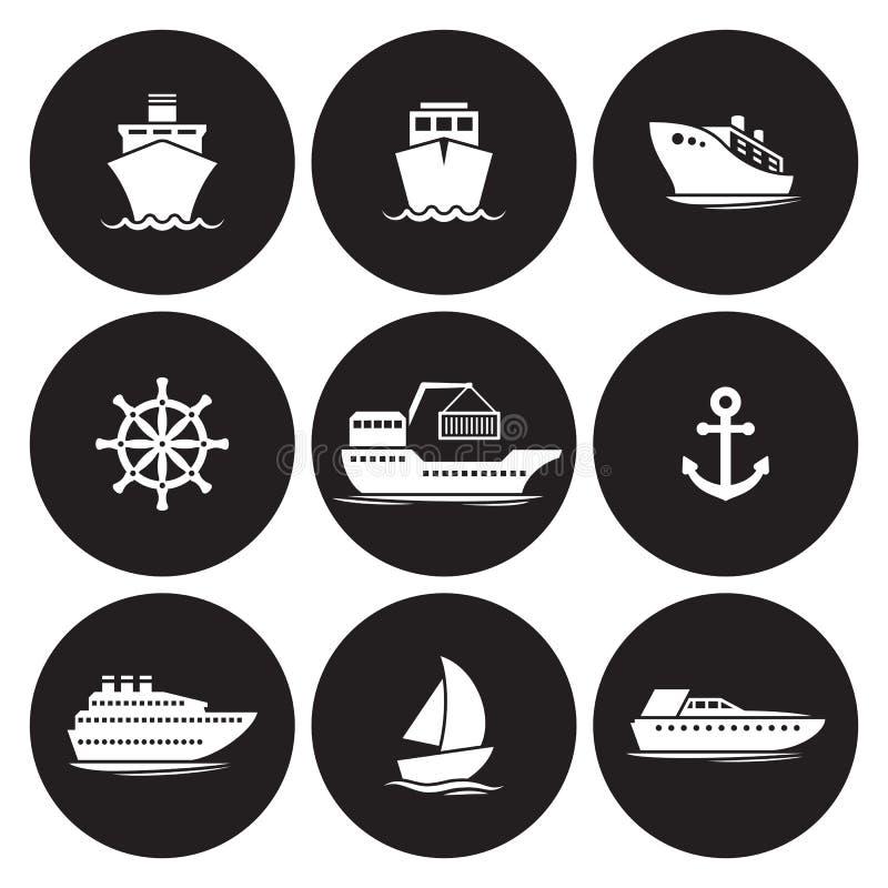 Εικονίδια σκαφών καθορισμένα απεικόνιση αποθεμάτων