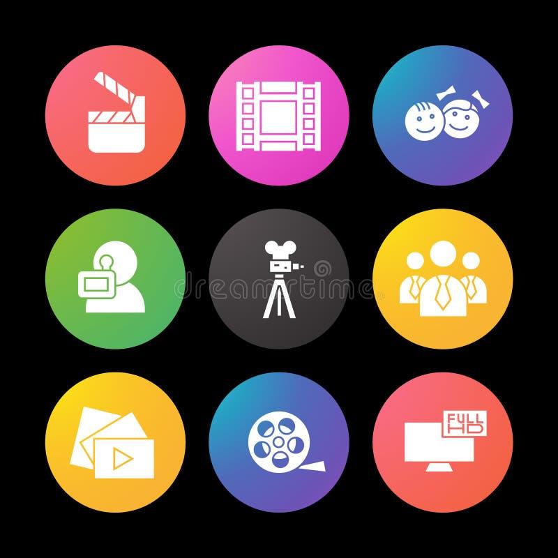 Εικονίδια σκιαγραφιών μαγνητοσκόπησης καθορισμένα Κινηματογράφος clapperboard, τηλεοπτική ταινία, κουμπί παιχνιδιού, videographer απεικόνιση αποθεμάτων