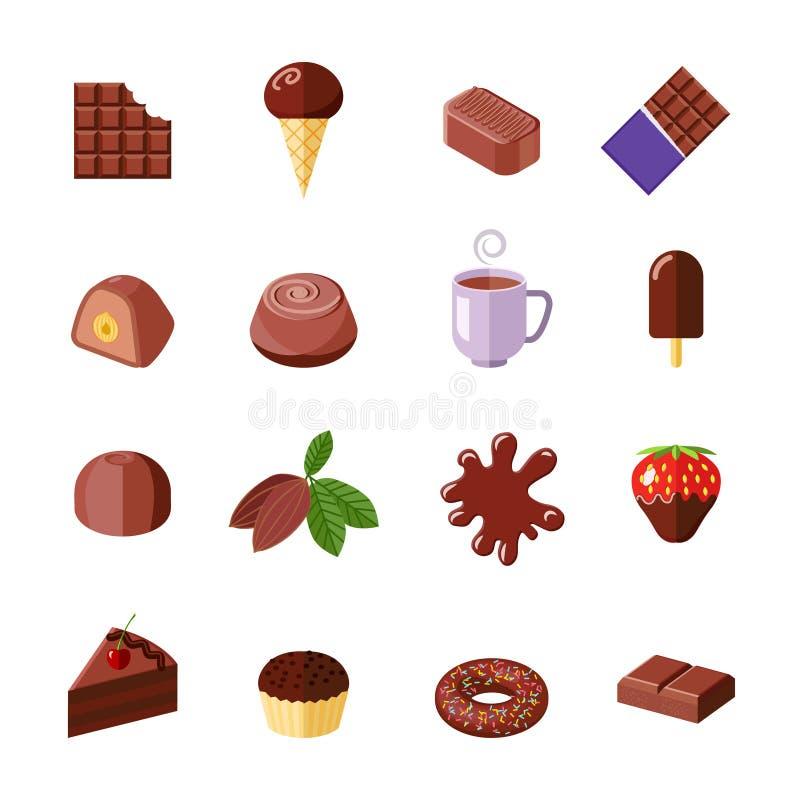 Εικονίδια σοκολάτας επίπεδα απεικόνιση αποθεμάτων