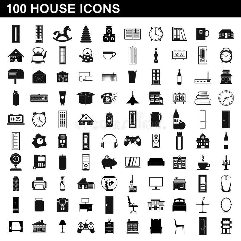 100 εικονίδια σπιτιών καθορισμένα, απλό ύφος ελεύθερη απεικόνιση δικαιώματος