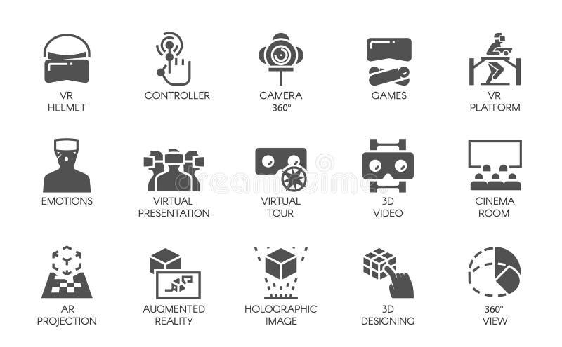 15 εικονίδια στο επίπεδο ύφος της αυξημένης τεχνολογίας του AR πραγματικότητας ψηφιακής Φουτουριστική έννοια τεχνολογίας Ετικέτες ελεύθερη απεικόνιση δικαιώματος